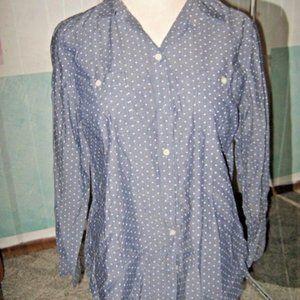 Blue Jean Denim Look White Polka Dot Button Shirt